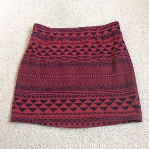 Urban Outfitters Red & Black Pattern Mini Skirt
